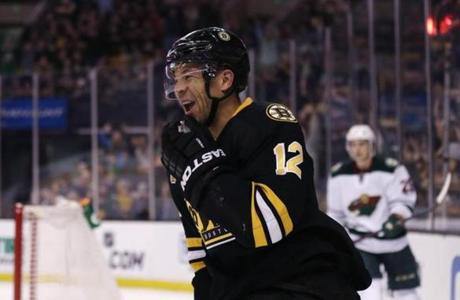 Jarome Iginla, who did not play Tuesday, returned to practice for the Bruins.